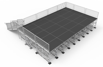 22ft deep x 36ft wide @ 6ft tall stage platform